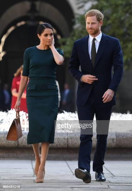Meghan Duchess of Sussex and Prince Harry Duke of Sussex arrive at the start of a twoday visit on July 10 2018 in Dublin Ireland