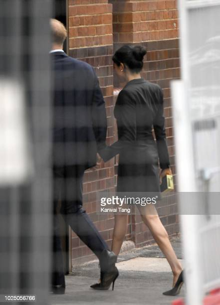 "Meghan, Duchess of Sussex and Prince Harry, Duke of Sussex arrive for the Special Gala Performance of ""Hamilton"" in Aid of Sentebale at Victoria..."