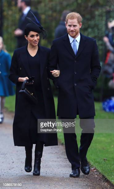 Meghan Duchess of Sussex and Prince Harry Duke of Sussex arrive to attend Christmas Day Church service at Church of St Mary Magdalene on the...
