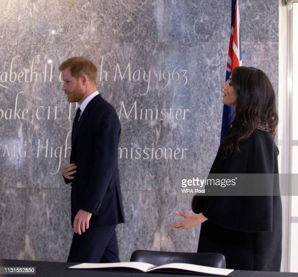Meghan Duchess of Sussex and Prince Harry Duke of Sussex at New Zealand House on March 19 2019 in London England The visit was following the recent...