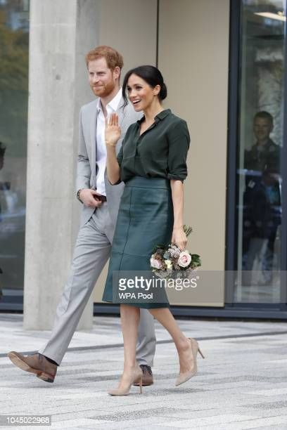 Meghan Duchess of Sussex and Prince Harry Duke of Sussex at The University of Chichester Tech Park during an official visit to Sussex on October 3...