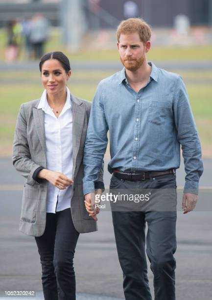 Meghan Duchess of Sussex and Prince Harry Duke of Sussex attend a naming and unveiling ceremony for the new Royal Flying Doctor Service aircraft at...