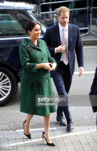 Meghan Duchess of Sussex and Prince Harry Duke of Sussex attend a Commonwealth Day Youth Event at Canada House on March 11 2019 in London England The...