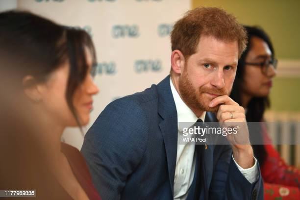 Meghan, Duchess of Sussex and Prince Harry, Duke of Sussex attend a roundtable discussion on gender equality with The Queens Commonwealth Trust and...