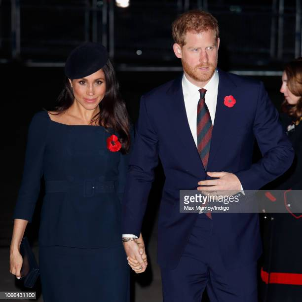 Meghan, Duchess of Sussex and Prince Harry, Duke of Sussex attend a service to mark the centenary of the Armistice at Westminster Abbey on November...