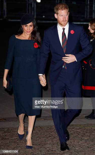 Meghan Duchess of Sussex and Prince Harry Duke of Sussex attend a service to mark the centenary of the Armistice at Westminster Abbey on November 11...
