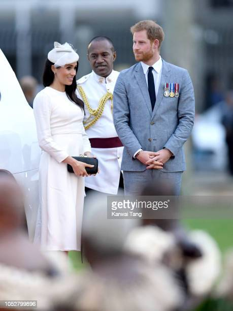 Meghan Duchess of Sussex and Prince Harry Duke of Sussex attend an official welcome ceremony in the city centre's Albert Park on October 23 2018 in...