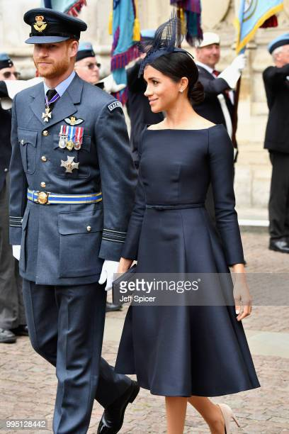Meghan Duchess of Sussex and Prince Harry Duke of Sussex attend as members of the Royal Family attend events to mark the centenary of the RAF on July...