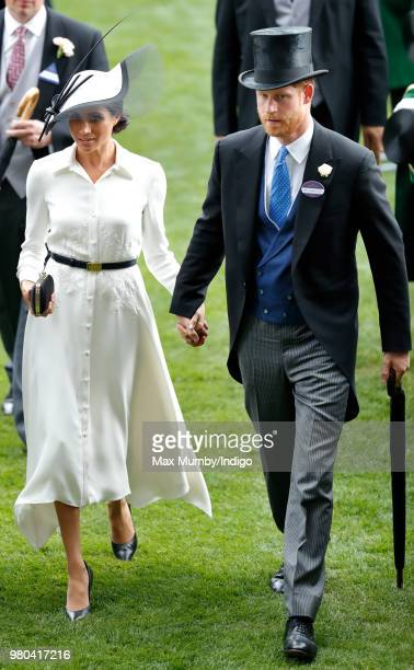 Meghan Duchess of Sussex and Prince Harry Duke of Sussex attend day 1 of Royal Ascot at Ascot Racecourse on June 19 2018 in Ascot England