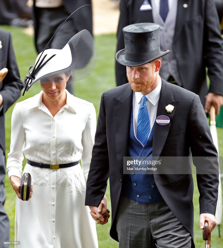 Meghan, Duchess of Sussex and Prince Harry, Duke of Sussex attend day 1 of Royal Ascot at Ascot Racecourse on June 19, 2018 in Ascot, England.