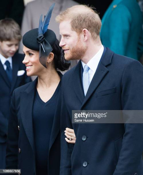 Meghan Duchess of Sussex and Prince Harry Duke of Sussex attend Christmas Day Church service at Church of St Mary Magdalene on the Sandringham estate...