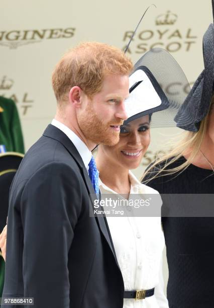 Meghan Duchess of Sussex and Prince Harry Duke of Sussex attend Royal Ascot Day 1 at Ascot Racecourse on June 19 2018 in Ascot United Kingdom