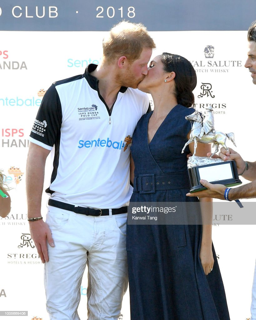 Meghan, Duchess of Sussex and Prince Harry, Duke of Sussex attend the Sentebale ISPS Handa Polo Cup at the Royal County of Berkshire Polo Club on July 26, 2018 in Windsor, England.