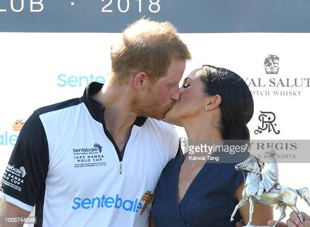 Meghan Duchess of Sussex and Prince Harry Duke of Sussex attend the Sentebale ISPS Handa Polo Cup at the Royal County of Berkshire Polo Club on July...
