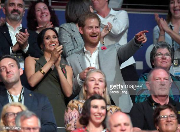 Meghan Duchess of Sussex and Prince Harry Duke of Sussex attend the Invictus Games Closing Ceremony at Qudos Bank Arena on October 27 2018 in Sydney...