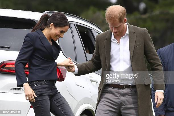 Meghan, Duchess of Sussex and Prince Harry, Duke of Sussex attend the unveiling of The Queen's Commonwealth Canopy in Redvale on October 30, 2018 in...