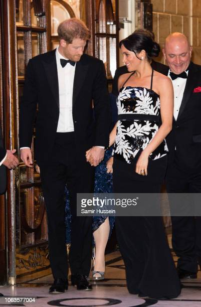 Meghan Duchess of Sussex and Prince Harry Duke of Sussex attend The Royal Variety Performance 2018 at London Palladium on November 19 2018 in London...