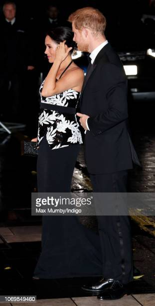 Meghan Duchess of Sussex and Prince Harry Duke of Sussex attend The Royal Variety Performance 2018 at the London Palladium on November 19 2018 in...