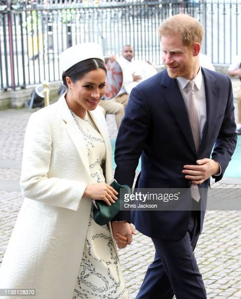 Meghan Duchess of Sussex and Prince Harry Duke of Sussex attend the Commonwealth Service on Commonwealth Day at Westminster Abbey on March 11 2019 in...