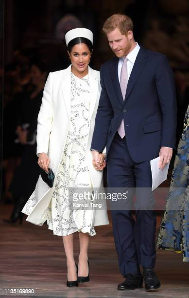 Meghan Duchess of Sussex and Prince Harry Duke of Sussex attend the Commonwealth Day service at Westminster Abbey on March 11 2019 in London England