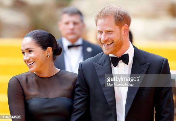 "Meghan, Duchess of Sussex and Prince Harry, Duke of Sussex attend ""The Lion King"" European Premiere at Leicester Square on July 14, 2019 in London,..."