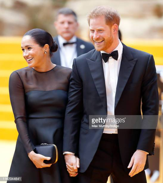 Meghan Duchess of Sussex and Prince Harry Duke of Sussex attend The Lion King European Premiere at Leicester Square on July 14 2019 in London England
