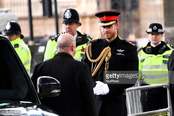 Meghan, Duchess of Sussex and Prince Harry, Duke of Sussex attend the 91st Field of Remembrance at Westminster Abbey on November 7, 2019 in London,...