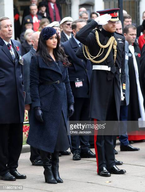 Meghan Duchess of Sussex and Prince Harry Duke of Sussex attend the 91st Field of Remembrance at Westminster Abbey on November 07 2019 in London...