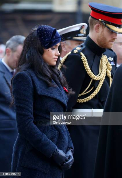 Meghan, Duchess of Sussex and Prince Harry, Duke of Sussex attend the 91st Field of Remembrance at Westminster Abbey on November 07, 2019 in London,...