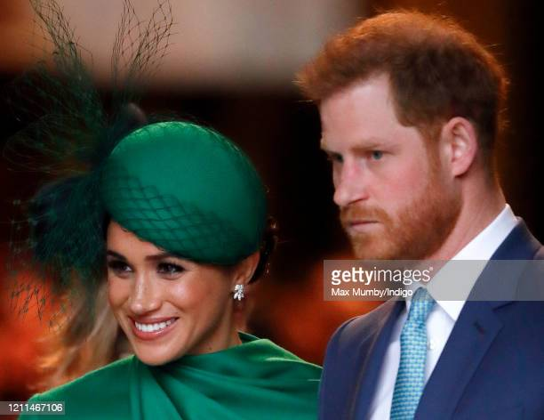 Meghan Duchess of Sussex and Prince Harry Duke of Sussex attend the Commonwealth Day Service 2020 at Westminster Abbey on March 9 2020 in London...