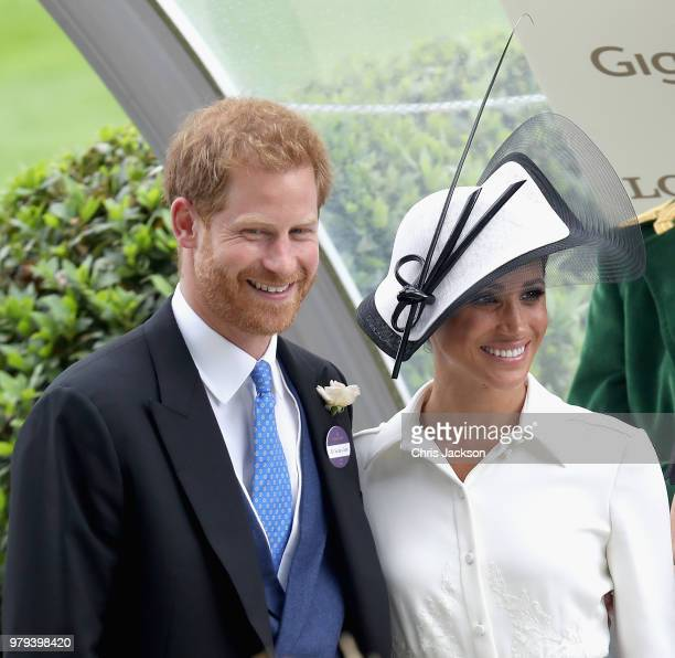 Meghan, Duchess of Sussex and Prince Harry, Duke of Sussex attend the prize ceremony of Royal Ascot Day 1 at Ascot Racecourse on June 19, 2018 in...