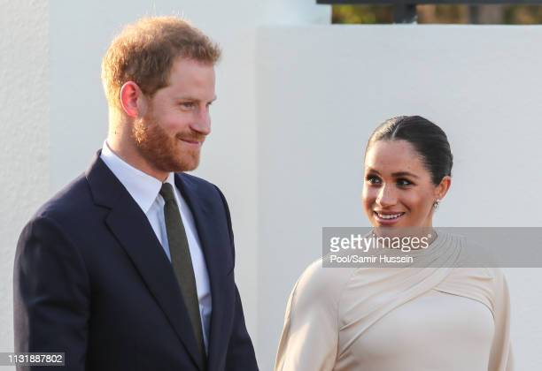 Meghan, Duchess of Sussex and Prince Harry, Duke of Sussex attends a reception hosted by the British Ambassador to Morocco at the British Residence...
