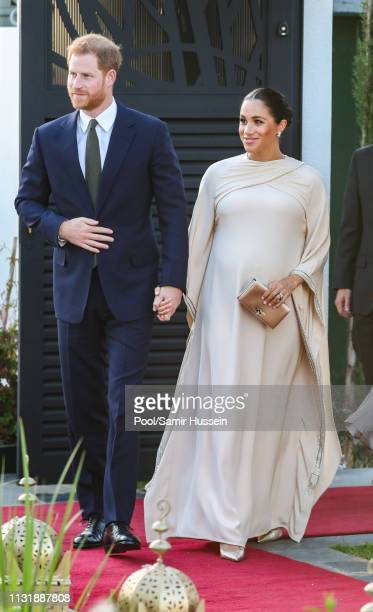 Meghan Duchess of Sussex and Prince Harry Duke of Sussex attends a reception hosted by the British Ambassador to Morocco at the British Residence...