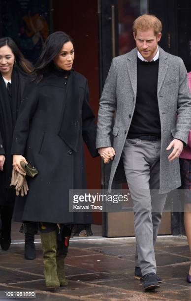 Meghan Duchess of Sussex and Prince Harry Duke of Sussex depart after visiting Bristol Old Vic on February 1 2019 in Bristol England