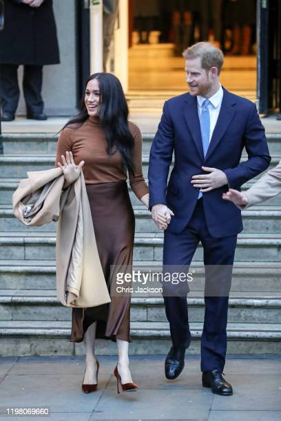 Meghan Duchess of Sussex and Prince Harry Duke of Sussex depart Canada House on January 07 2020 in London England