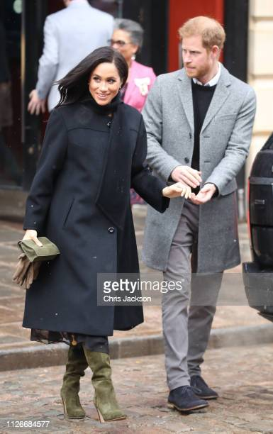 Meghan, Duchess of Sussex and Prince Harry, Duke of Sussex depart the Bristol Old Vic on February 01, 2019 in Bristol, England. The Duke and Duchess...