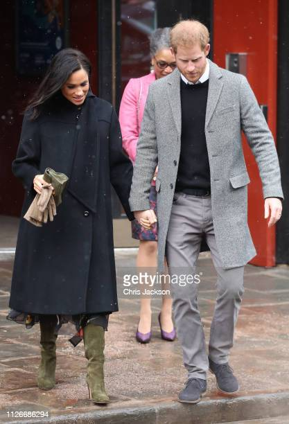 Meghan Duchess of Sussex and Prince Harry Duke of Sussex depart the Bristol Old Vic on February 01 2019 in Bristol England The Duke and Duchess will...