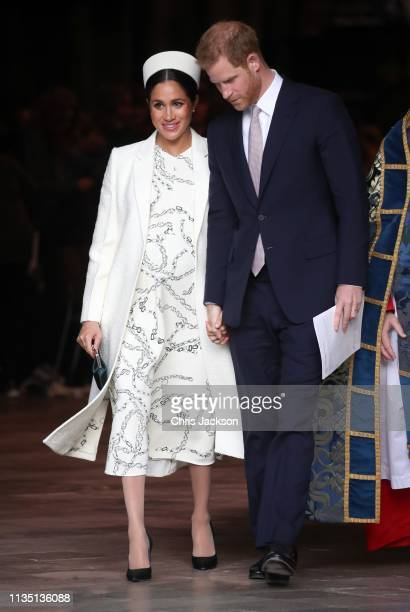 Meghan Duchess of Sussex and Prince Harry Duke of Sussex depart the Commonwealth Service on Commonwealth Day at Westminster Abbey on March 11 2019 in...