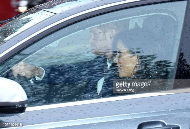 Meghan Duchess of Sussex and Prince Harry Duke of Sussex depart Kensington Palace to attend the Queen's Christmas lunch at Buckingham Palace on...