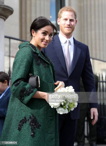 Meghan Duchess of Sussex and Prince Harry Duke of Sussex departs a Commonwealth Day Youth Event at Canada House on March 11 2019 in London England...
