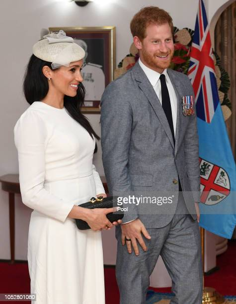 Meghan Duchess of Sussex and Prince Harry Duke of Sussex during their meeting with President of Fiji Jioji Konrote and his wife Sarote Faga Konrote...
