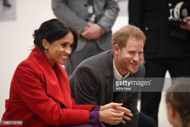 Meghan Duchess of Sussex and Prince Harry Duke of Sussex during their visit to the Hive Wirral Youth Zone as part of a visit to Birkenhead on January...