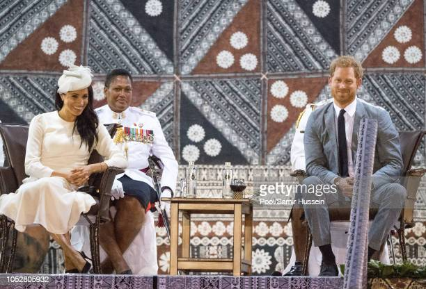 Meghan Duchess of Sussex and Prince Harry Duke of Sussex Harry attend an official welcome ceremony in the city centre's Albert Park on October 23...