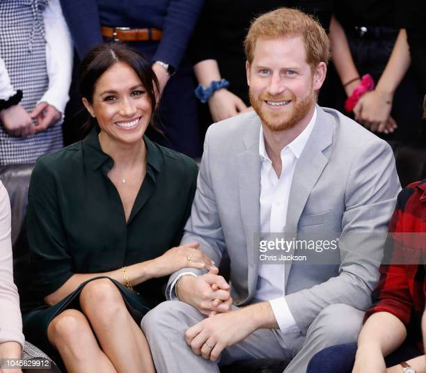 Meghan Duchess of Sussex and Prince Harry Duke of Sussex make an official visit to the Joff Youth Centre in Peacehaven Sussex on October 3 2018 in...