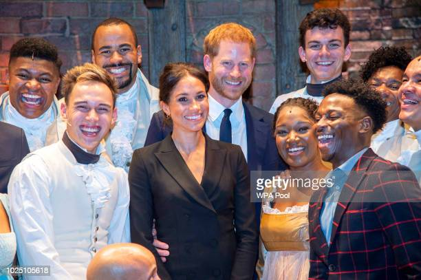 Meghan Duchess of Sussex and Prince Harry Duke of Sussex meet the cast and crew of 'Hamilton' backstage after the gala performance in support of...