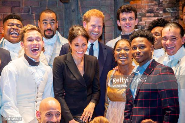 "Meghan, Duchess of Sussex and Prince Harry, Duke of Sussex meet the cast and crew of ""Hamilton"" backstage after the gala performance in support of..."