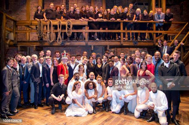 Meghan Duchess of Sussex and Prince Harry Duke of Sussex meet the cast and crew of Hamilton backstage after the gala performance in support of...
