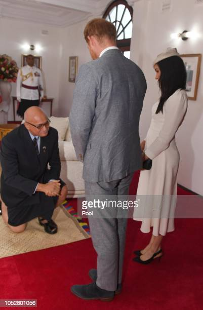 Meghan Duchess of Sussex and Prince Harry Duke of Sussex meet with President of Fiji Jioji Konrote on the first day of their tour to Fiji on October...