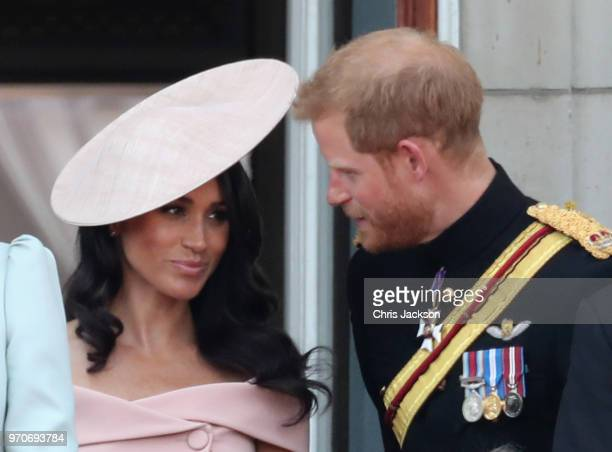 Meghan Duchess of Sussex and Prince Harry Duke of Sussex on the balcony of Buckingham Palace during Trooping The Colour on June 9 2018 in London...
