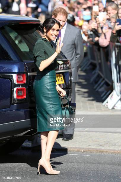 Meghan Duchess of Sussex and Prince Harry Duke of Sussex seen arriving at the Royal Pavilion in Brighton during an official visit to Sussex on...